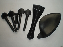 2 Sets Black Ebony Fiddle parts 4/4 with Tail piece chin rest pegs end button