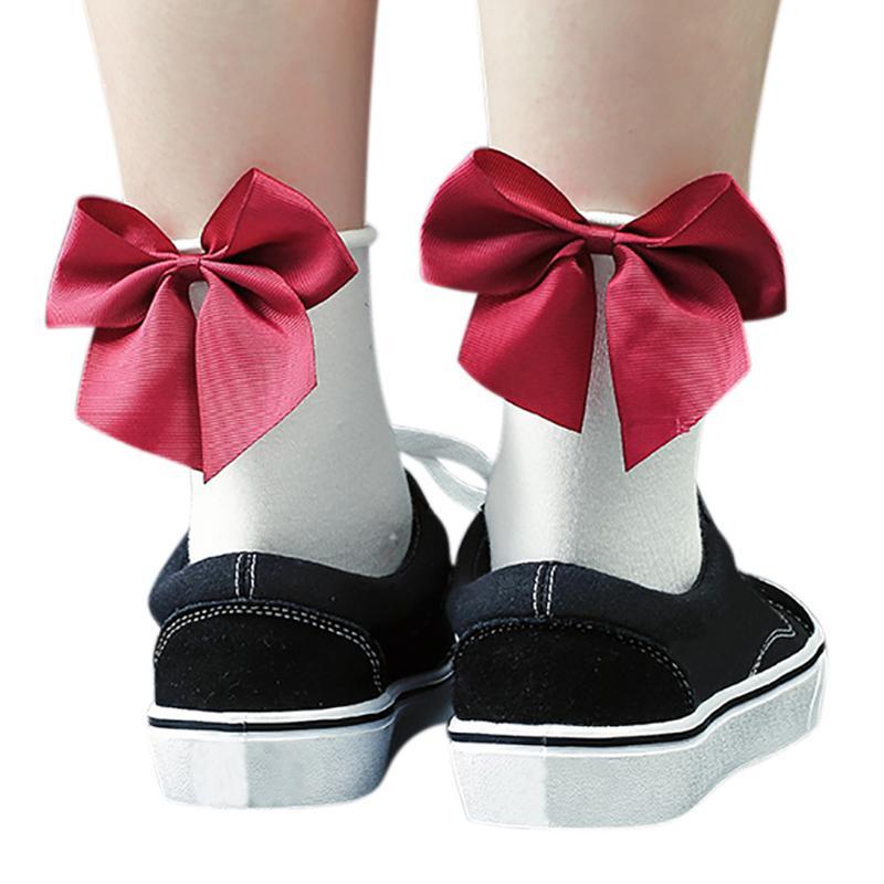 Chic Streetwear Women's Black Plaid Pattern Bow Socks Casual Lolita Short Socks Cute Girl's Ladies Side Bow Knot Sox