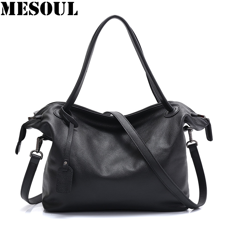 MESOUL Top-Handle Bags Handbags Luxury Women Famous Brands Female Black Casual Big Shoulder Bag Tote For Girls Crossbody Bag hot sale 2016 france popular top handle bags women shoulder bags famous brand new stone handbags champagne silver hobo bag b075