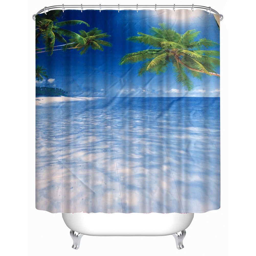 Ocean shower curtain - 180x180cm Bathroom Shower Curtain Beach Summer Ocean Sky Scenic Fabric Shower Curtains Waterproof Bath Curtains With