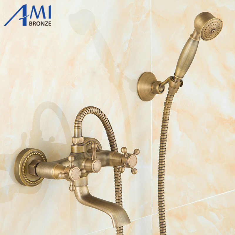 Wall Mounted Antique Brass Bath Faucets 360 Swivel Faucets Bathroom basin Mixer Tap crane With Hand