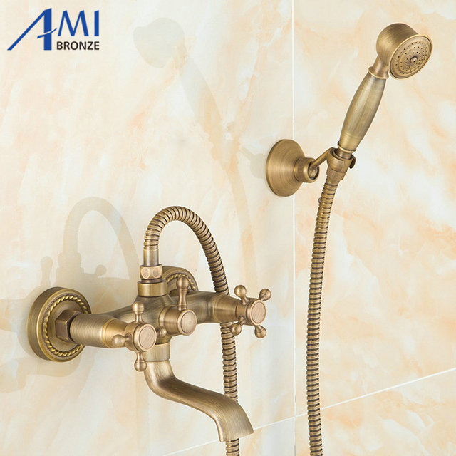 Wall Mounted Antique Brass Bath Faucets 360 Swivel Faucets Bathroom ...