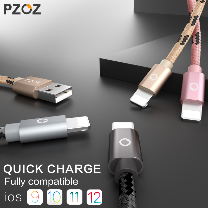 цена на PZOZ usb cable for iphone cable 8 7 6 plus 6s 5 5s se X 9 plus xs ipad mini fast charging cables mobile phone charger cord data