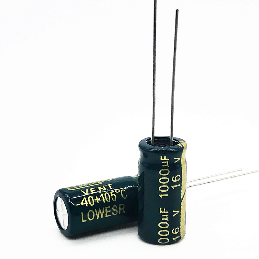 10Pcs High Frequency Low Impedance 16V 1000UF 8*16mm Aluminum Electrolytic Capacitor 1000uf 16v 20%