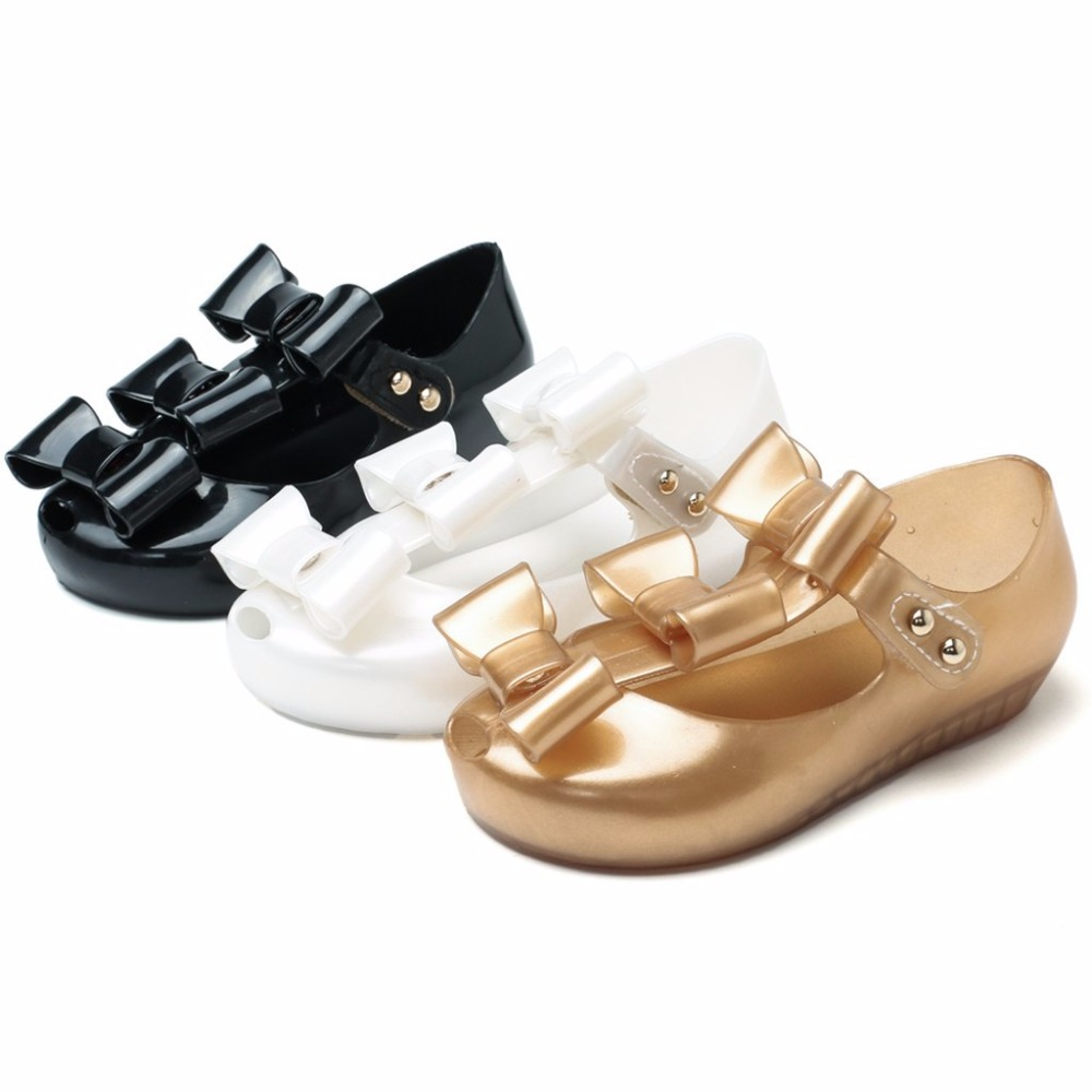 Mini Melissa 2018 New Mini Jelly Shoes Children Three Bow Girls Roman Princess Shoes Soft and Comfortable Sandals 13-18cm Shoes