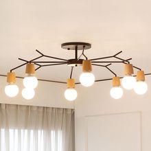 Nordic Fhrte Holz Schlafzimmer Deckenleuchte Wohnzimmer Lampe Einfache Kreative Geweih Garten Restaurant Studie Gang Lampen