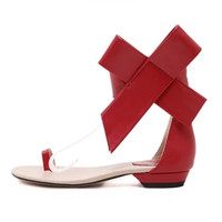 2018 summer new large bow flat sandals flower hollow shoes clip toe
