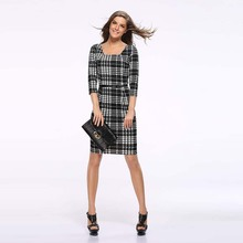 S XXXL Plus Size Cotton Square Collar Three Quarter Black White font b Tartan b font