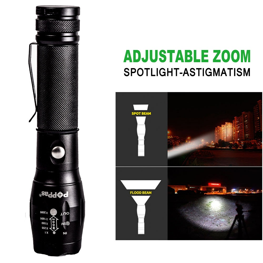 DC USB Flashlight CREE Q5 XPE LED Tactical Torch Zoomable Power Bank Hard Light USB Charger