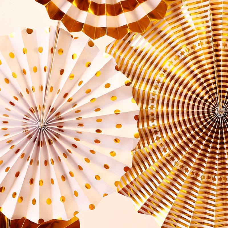 Image 3 - 8pcs Gold Silver Rosettes Pom Wheels Ivory and Gold Pinwheels Party Paper Fans Rosettes Photo Backdrop Wedding Decoration-in Party Backdrops from Home & Garden