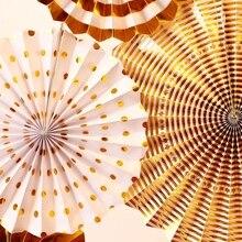 8pcs Oro Argento Festa di Compleanno Sfondo Fan Set Baby Shower Ventole Sfondo Rosette Foto Sullo Sfondo di Nozze di Carta Della Decorazione
