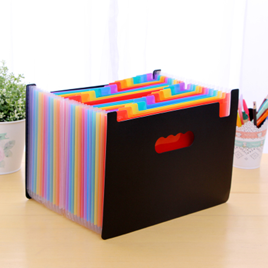 Multi-Color Plastic A4 Accordion Document File Folder Organizer With Expandable Wallet Stand