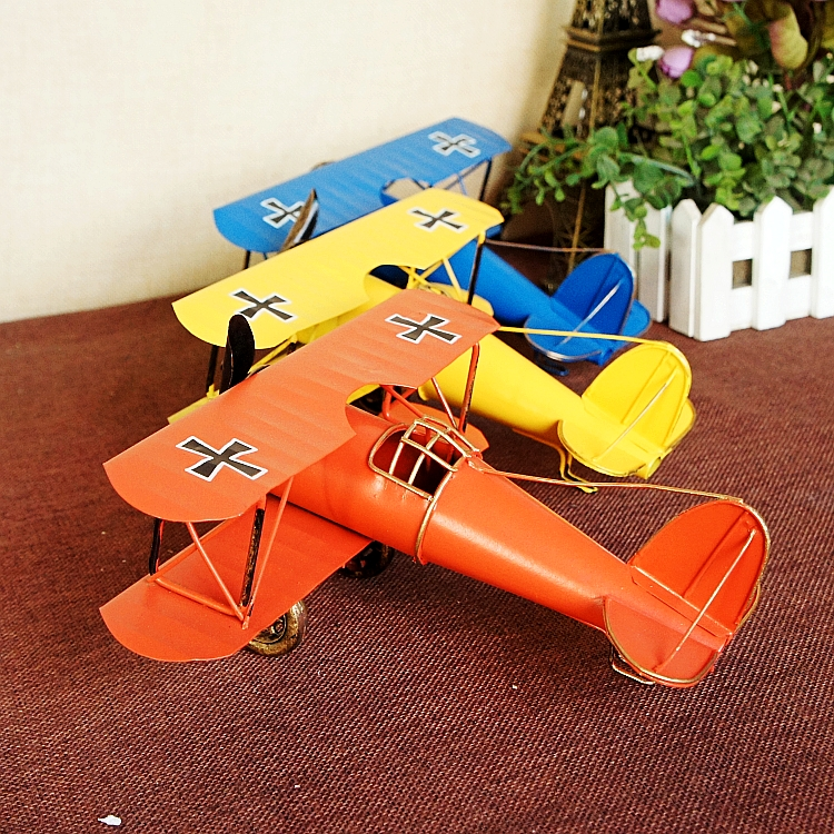 Vintage Metal Plane Model Dəmir Retro Təyyarə Glider Biplane Kulon - Ev dekoru - Fotoqrafiya 1