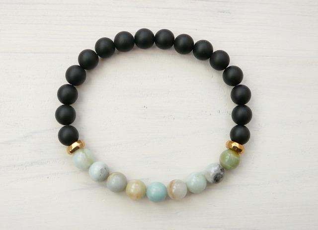 white black matte agate naturalstone bracelet howlite item beads mala fashion onyx mens