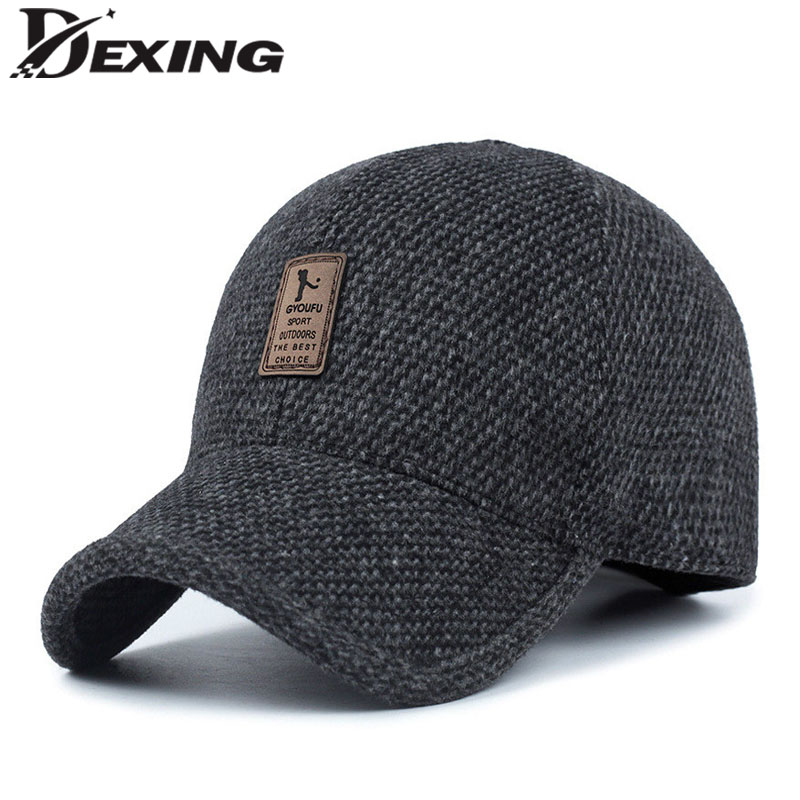 Lether Logo  Warm Winter spring Thickened Baseball Cap With Ears Men'S Cotton Hat Snapback Hats Ear Flaps For Men Hat knitted skullies cap the new winter all match thickened wool hat knitted cap children cap mz081