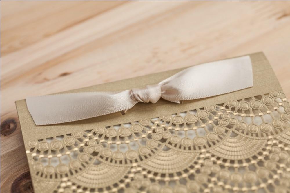 Gold Laser Cut Lace Wedding invitations Handmade Ribbon greeting ...