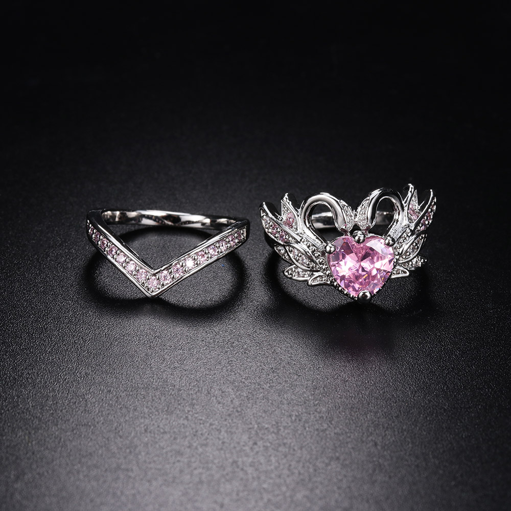 2Pcs/set 2018 New Arrivals Couple Rings Silver Crown Swan Heart Shape Rings Wedding Engagement Party Rings Luxury Jewelry