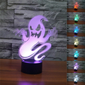 3D Bulbing Light 7colors Changing Balaclava Ghost Lamp LED Halloween Scary Ghost Haunt Night Lights Decoration Xmas Party Props