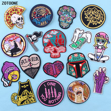ZOTOONE Bike Pizza Sugar Skull Patches Embroidery Stripe on Clothes Iron Punk Style Sticker Diy Appliques Garment Accessories