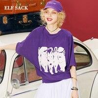 ELF SACK European Autumn Fashion New Woman Tshirts Cotton Casual Loose Women T shirt Animal Print O Neck Purple Girl Tops Female