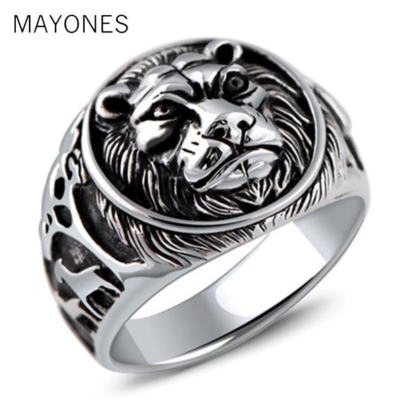 Punk Rock bijoux dominateur tête de Lion anneau solide 925 en argent Sterling anneaux pour hommes Vintage Thai bijoux en argent