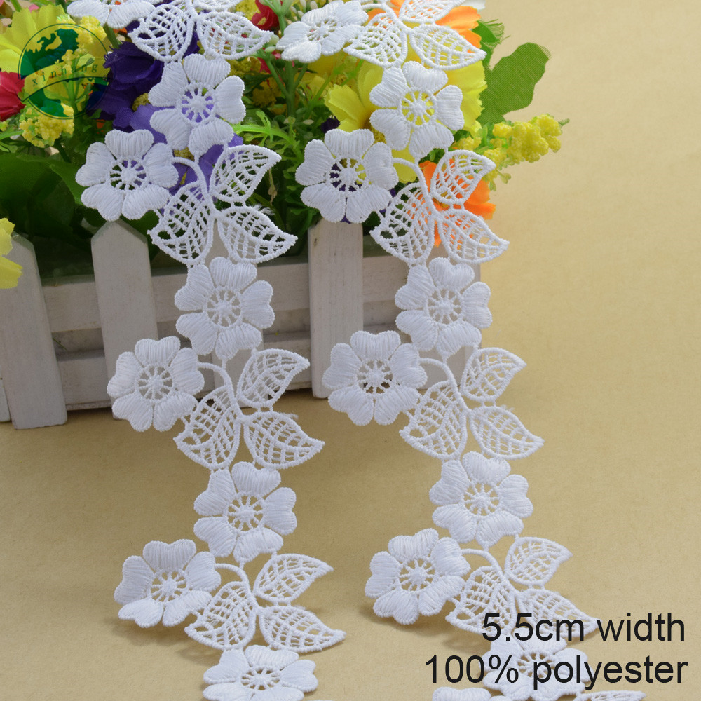 5.5cm white polyester embroidery lace french lace ribbon fabric guipure diy trims warp knitting sewing Accessories#3706(China)