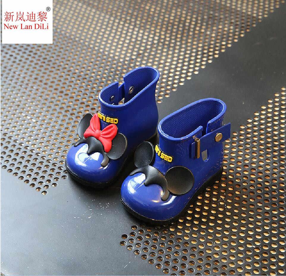 Новый галстуком-бабочкой, для детей ясельного возраста, одежда для девочек, с защитой от дождя ботинки, детская обувь Водонепроницаемый ботинки для девочек с бантом; прозрачные резиновые сапоги для детей Резиновая обувь для девочек