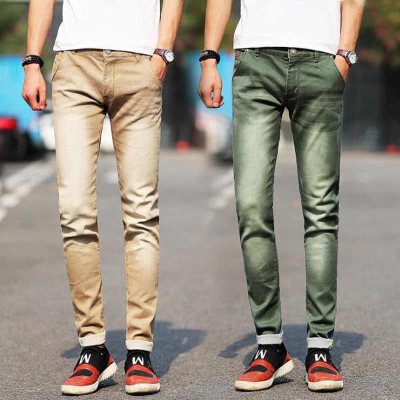 685a431d29 De los hombres de la nueva moda Jeans verde caqui gris azul negro Slim  Simple elástico