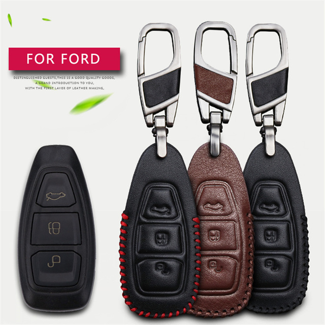 2017 Leather Car Smart Key Case Cover For Ford Focus 3 2 Mk2 Fiesta Mondeo Mk3 Mk4 Kuga C Max Ons Chain Holder