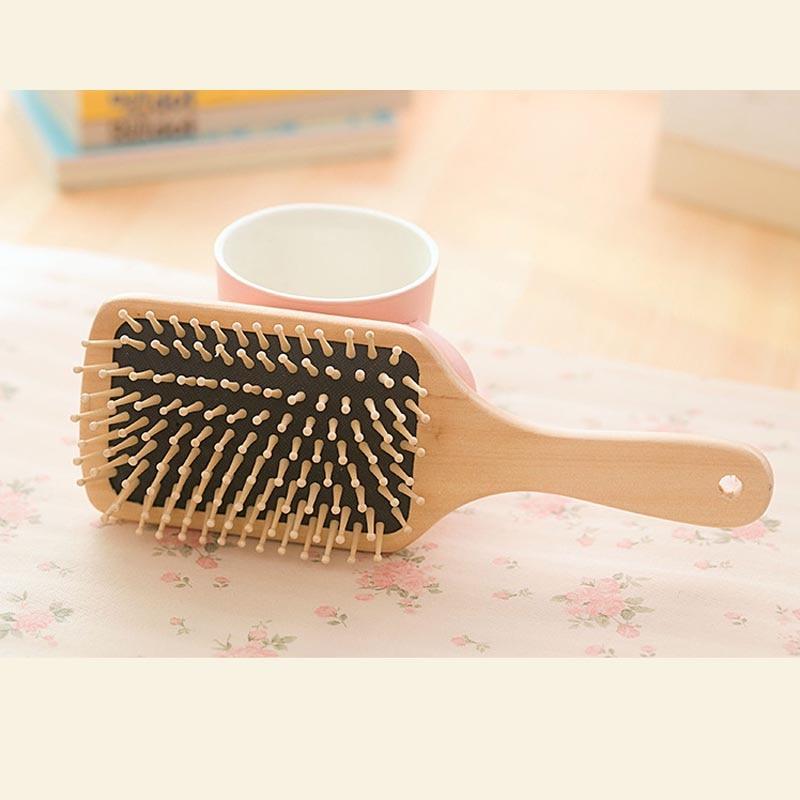 Hair Comb Brush Natural Bristle Anti-statisk Curly Wood Handle - Hårvård och styling - Foto 2