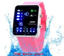 Cor da moda Doces Borracha Geléia Das Mulheres Relógios Novo Designer NW792 Inteligente LEVOU relógio de Pulso Esportes Relógio Digital de 30 M À Prova D' Água