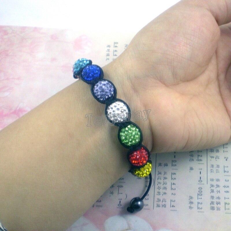 Мода 10 мм Кристалл паве регулируемый ручной работы разноцветный браслет 12 шт оптом