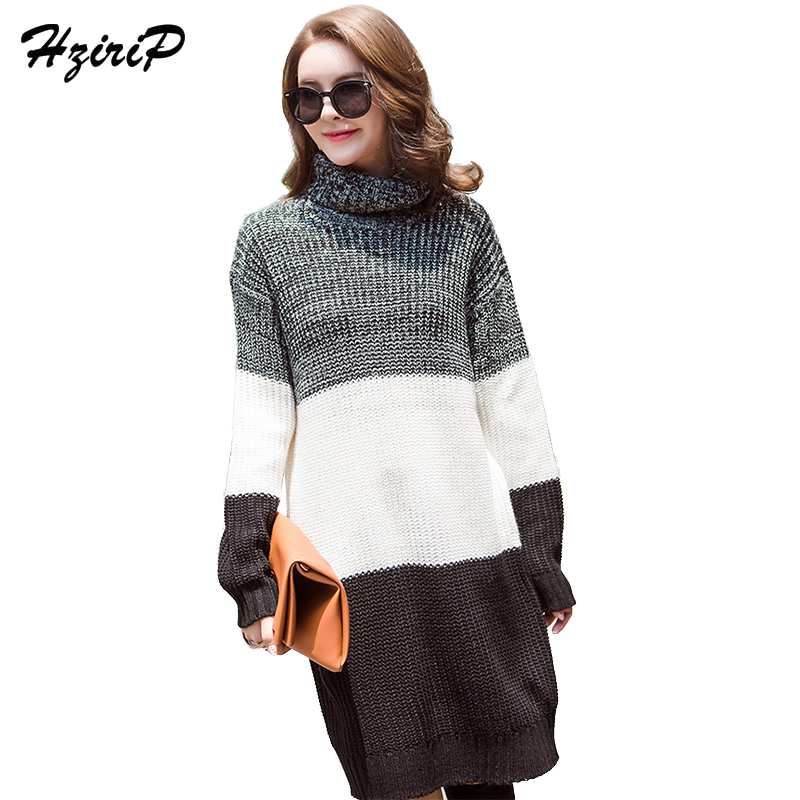 HziriP Striped Turtle Sweater Dresses Womens Autumn Knitted Full Sleeve Dress Ladies 2017 Textured Hollow Out Vestidos Femininas hollow out textured sweater