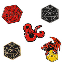 Dungeons and Dragons Enamel pin D20 DnD 20 sided dice Game Brooch Backpack Clothes Lapel Pin Button Badge Pins for women men(China)