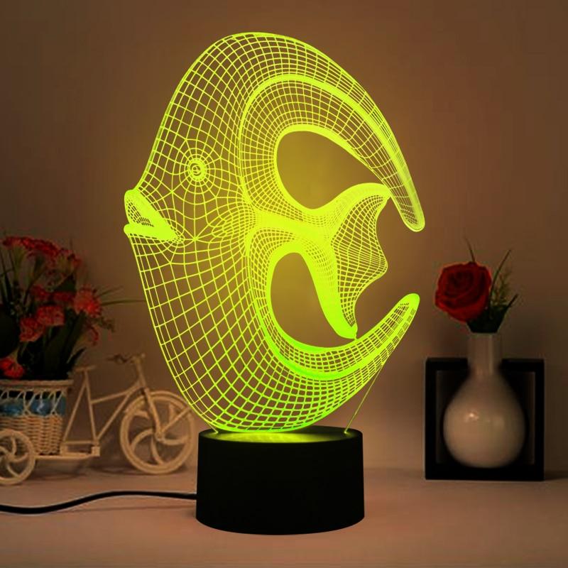 USB amusant 3D forme de poisson veilleuses multi-couleurs en trois dimensions lampe de Table pour bébé chambre lumières