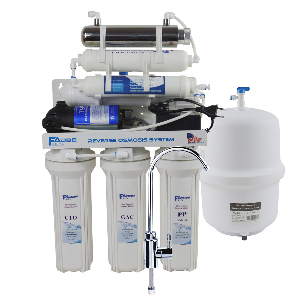 7-Stage Undersink Reverse Osmosis Drinking Water Filtration System with Alkaline Remineralization Filter and UV-50GPD/220V душевой поддон iddis 90x90 p29w