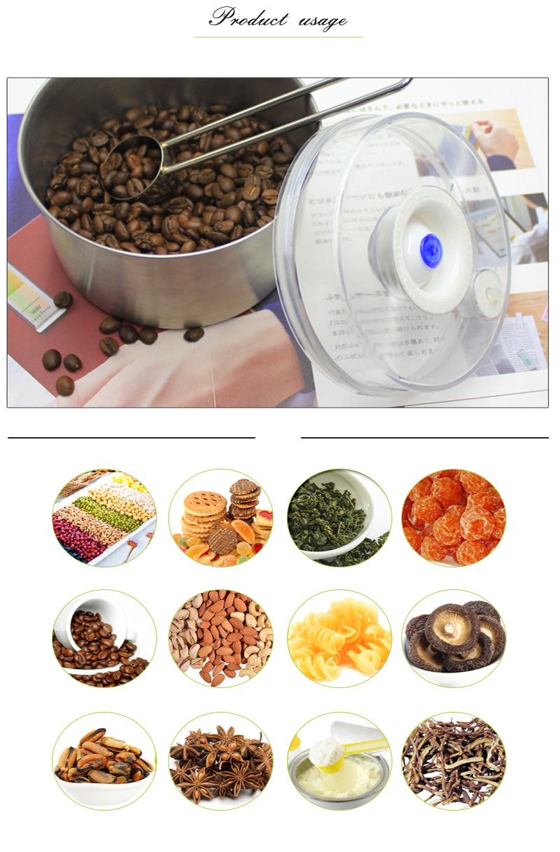 vacuum container usage for coffee bean candy green tea cookies