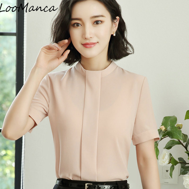d30f85eb6f Elegancka koszula odzież damska krótki rękaw bluzka biuro Formalne Blusas  Femininas szyfonowa stanąć kołnierz kobiet work
