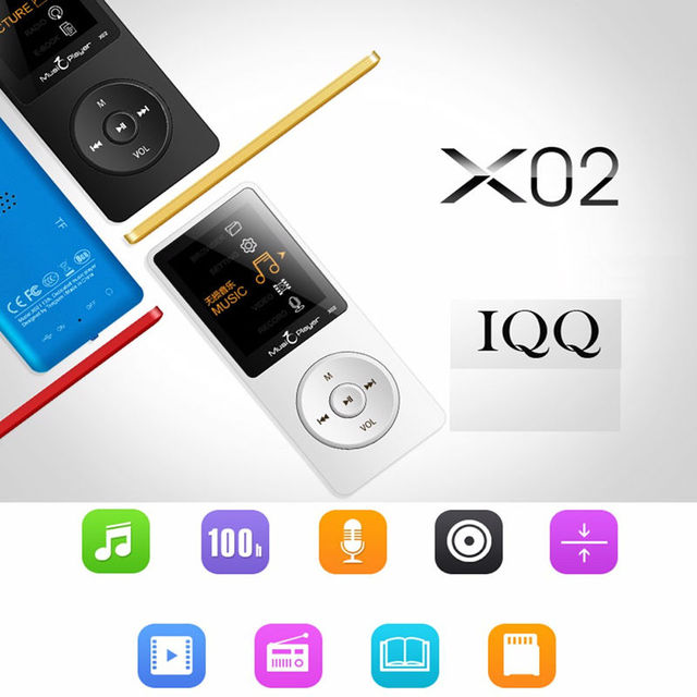 Hot IQQ X02 MP3 8GB Music play time 80 Hours lossless MP3 player 1.8″ TFT screen MP3 with speaker E-book FM radio voice recorder