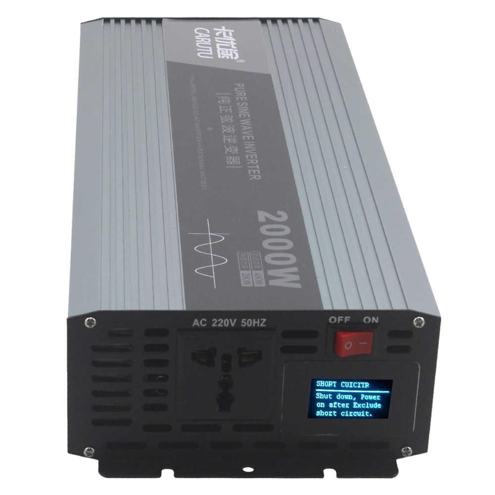 Mükemmel 2000W saf sinüs dalgası güneş güç inverteri 12V 220V çıkış mükemmel istikrarlı saf sinüs dalgası hata ister ekran