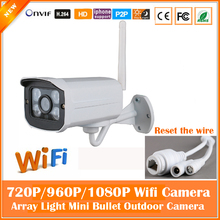 2.0mp HD Bullet IP Camera Wifi 1080P Outdoor Waterproof Securveillance Security CCTV Night Vision Mini White Freeshipping Hot