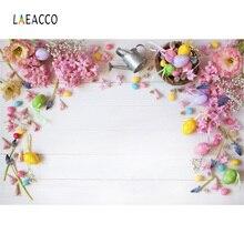 Laeacco Placa de Ovos de Páscoa de Flores De Madeira Backdrops Para Estúdio de Fotografia Fotografia Fundos Fotográficos Personalizados de Aniversário