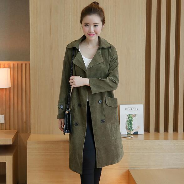 Mujeres Trench Coat Otoño y el Invierno de Pana informal de Manga Larga Trench Coat para las mujeres outwear T805
