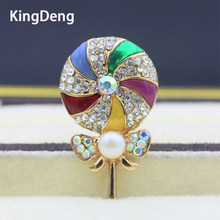 Lollipop Brooch For Girl Colorful Pin For Baby Bobby Metal Enamel Pin Cute Gifts For Kids Pearl Jewelry Shirt Women Accessories(China)