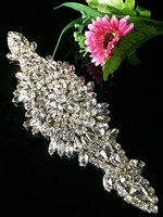 2015 Bling Rhinestone Decorations Beaded Trims For Wedding Dresses3pcs Lace Trim Crystal Rhinestone Applique Evening Gown