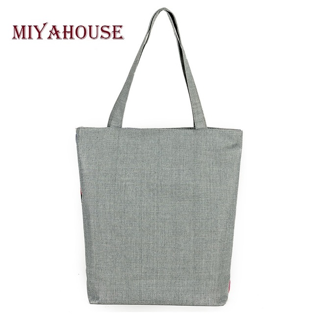 Elephant Printed Canvas Tote Women Casual Beach Bags Daily Use Female Single Shoulder Bags For Shopping Casual Canvas Handbags