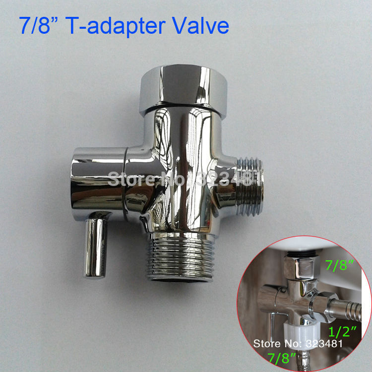 Bathroom Toilet Bidet Valve 7/8 Brass T adapter Diverter Chrome Plated Bidet Shattaf Sprayer Control Water Shut off Valve