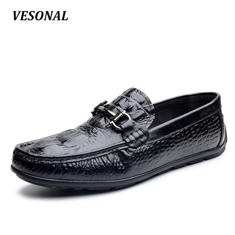 VESONAL Low Top Classic Mens Shoes Casual 100% Luxury Genuine Leather Loafers Men Shoes Driving Fashion Boat Designer SD6222 vesonal 2017 top quality lycra outdoor ultralight slip on loafers men shoes fashion stripe mens shoes casual sd7005