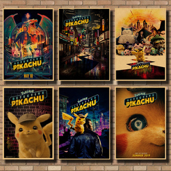 New 2019 Home Decorator Wall Stickers Movie poster Pokemon Detective Pikachu vintage Kraft Paper poster Decoration