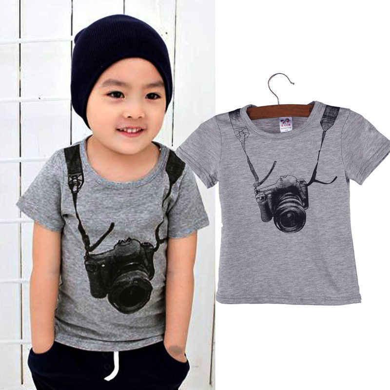 1-8Y 夏カジュアル子供少年子供の綿のプリントカメラ半袖トップス o ネック tシャツ tシャツ服トップ